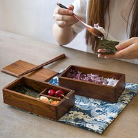 Japanese Double Deck Wood bento Boxes Wooden Bento Boxes Student shu Food Container For Food