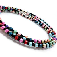 Seed bead, glass pearl wrap bracelet, anklet, necklace, multi color, stocking stuffer, gift, present for her, colorful, bohemian pastel boho