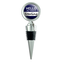 Sterling Hello My Name Is Wine Bottle Stopper