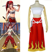 Free Shipping Hand-made Japanese Anime Halloween Fairy Tail Erza Scarlet Cosplay Costume For Women