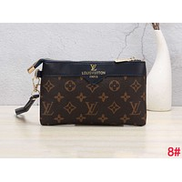 LV Louis Vuitton Stylish Women Men Leather Handbag Wrist Bag Purse Wallet 8#