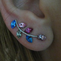 Ear Sweep Wrap Earring - with Swarovsky - Unique-  COLORFUL Nr1