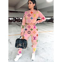 LV tide brand female models full printed letter print hooded two-piece pink