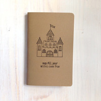 Notebook: Castle, Fairytale, Wishes, Dreams, Inspiration Book, Brown, Kraft, Stamped, Kids, Journal, For Him, For Her, Jotter, Unique, Gift
