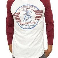 Junk Food Clothing - Men's Tops - Short Sleeve - Budweiser Vintage Raglan