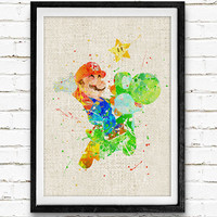 Super Mario and Yoshi Watercolor Print, Games Baby Boy Nursery Decor, Wall Art, Home Decor, Gift Idea, Not Framed, Buy 2 Get 1 Free!