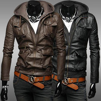Slim Fit Men Multi-Pockets Zip Up Faux Leather Jacket with Hood SOS
