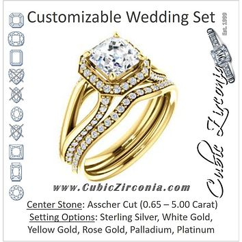 CZ Wedding Set, featuring The Gabrielle Mia engagement ring (Customizable Asscher Cut Design with Halo & Accented Three-sided Wide Split Band)