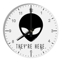 """Alien They Are Here 8"""" Round Wall Clock with Numbers"""