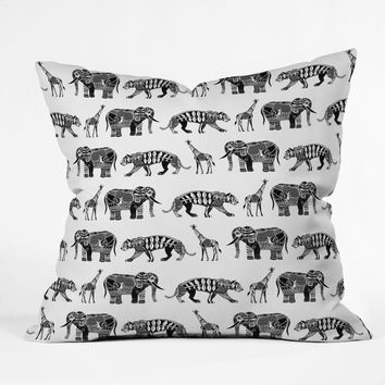 Sharon Turner Graphic Zoo Outdoor Throw Pillow