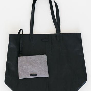 Toms Black Leather Tote