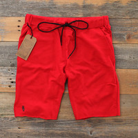 Mini Keys Cut Off Terry Shorts Red