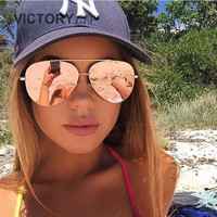 VictoryLip 2017 Fashion Rose Gold Brand Designer Ladies Sunglasses Women Men Piolt mirror Metal Frame Sun Glasses aviation