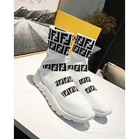 Fendi new tide brand knit flat bottom high men and women sports shoes white