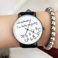 Vintage Watches - Women Casual Funny Quote Leather Strap Watch