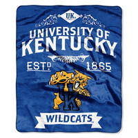 Kentucky Wildcats NCAA Royal Plush Raschel Blanket (Label Series) (50x60)