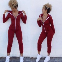 New Womens Jumpsuits Fashion Long Sleeve Rompers Female Sexy Zipper Hooded Jumpsuits Causal Woman Skinny Cotton Blend Jumpsuits