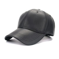 4 Panel PU Faux Leather Curved Baseball Cap Dad Hats for Women Men,Red Pink Black Blue Brown