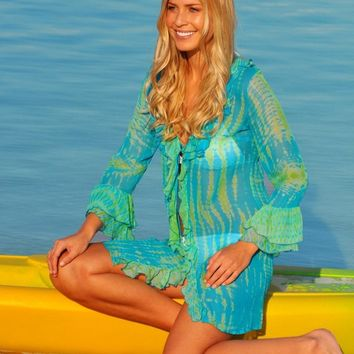 Hand Tie Dye Silk Beach Cover up Kaftan Caftan Dress