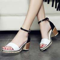 Plus size 34-43 Newest Women Open Toe Sexy Ankle Straps Sandals Fashion Square High Heels Summer Ladies Thick Heel Pumps Sandals