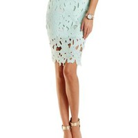 Mint Embroidered Lace Pencil Skirt by Charlotte Russe