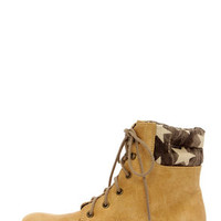 Coconuts Lumber Jack Natural Star Print Work Boots