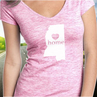 Mississippi Home T-Shirt - V-Neck - State Pride - Home Tee - Clothing - Womens - Ladies