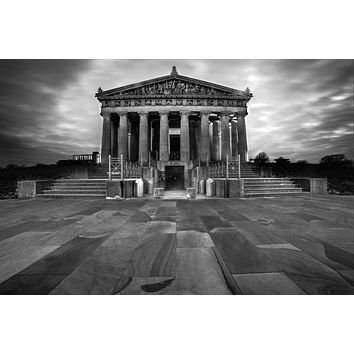 The Parthenon Nashville Tennessee Downtown Photography black and white B&W landmark Canvas Metal Print Bedroom Sunset wall art poster temple