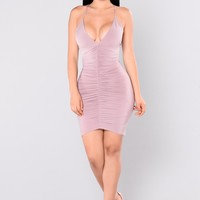 Nora Ruched Dress - Mauve