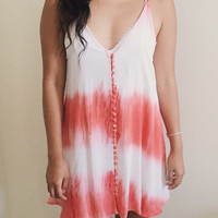 Natalie Coral Tie Die Swing Dress