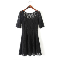 Women's Short Sleeves Lace One-Piece Dress