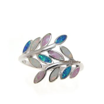 BLUE WHITE PINK TRICOLOR INLAY OPAL RING HAWAIIAN MAILE LEAF 925 STERLING SILVER