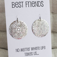 Best Friends Gift Card Drop Alloy Circle Vintage Jewelry Family and Friend Gift Woman Fashion Earrings