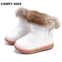 Winter Fashion Child Girls Snow Boots Shoes Warm Plush Soft Bottom Baby Girls Boots Comfy Kids Leather Winter Boots