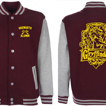 Gryffindor Quidditch Varsity Jacket Unisex Tumblr Pinterest Harry Potter Fan Sweatshirt