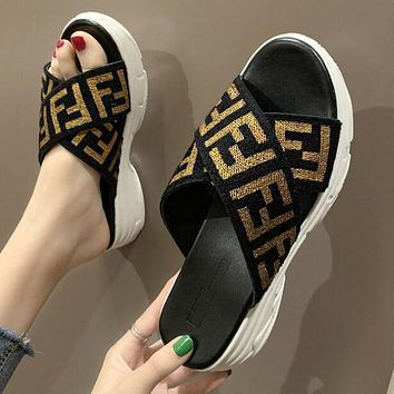 FENDI Trending Women F Letter Print Thick Soles Sandal Slipper Shoes Golden