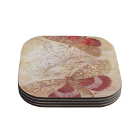 """Suzanne Carter """"Vintage Garden"""" Butterfly Moth Coasters (Set of 4)"""