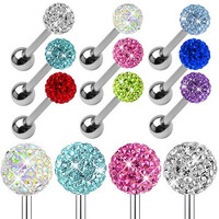 luxury CZ Shamballa Crystal Ball Tongue Rings Stainless Steel Barbell Bars body Piercing jewelry for women ladies christmas gift