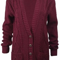 Women's Cable Chunky Knitted 5 Button Long Sleeves Grandad Cardigans