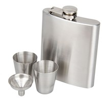 7oz Stainless Steel Flask & Funnel Set (with 2 Complimentary Shot Glasses)