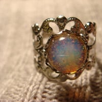 Fire Opal Silver Filigree Ring Adjustable 464 by CreepyCreationz