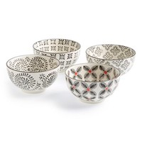 Signature Housewares Printed Stoneware Bowls - Black (Set of 4)