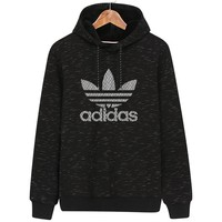 ADIDAS Clover autumn and winter new trend hooded sports pullover sweater black