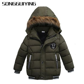 SONGGUIYING A101 Boy Warm Winter Children's Clothing Hooded Down Jackets Coats Kids Boys Cotton Thickening Outerwear Parkas Coat