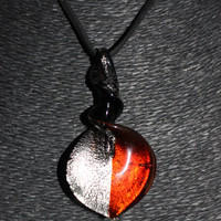 Murano Glass Spiraled Teardrop (Red and White) Pendant Necklace