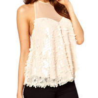 Halter Backless Lace-up Sequins Top with Mesh Accent
