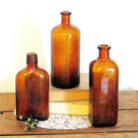 Old Vintage Bottles Amber Glass Apothocary