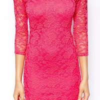 Pink Long Sleeve Floral Lace Dress