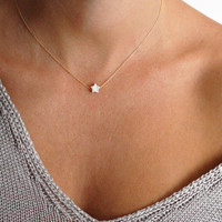Small Star Necklace, Tiny Pearl Star Necklace, Dainty Necklace Set,  Tiny Star Necklace, Bridesmaid Necklace, Bridesmaid Gift