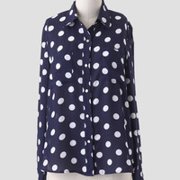 Blueberry Crumble Polka Dot Blouse